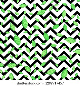 Green leaves seamless vector pattern. Falling flat foliage on zigzag background. Textile design