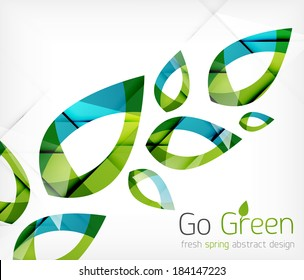 Green leaves spring nature design concept