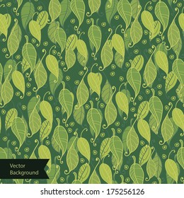 Green leaves surface texture. Seamless background with green leaves