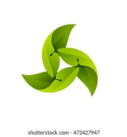 Green leaves in a swirl logo. Ecology elements for ecology banner, presentation, web page, card, labels or posters.