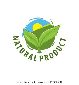 Green leaves vector logo for organic, natural, eco or bio products, isolated on a white background, the sun