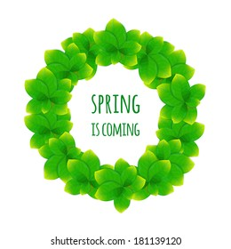 Green leaves wreath on white background. Vector background