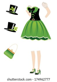 Green leprechaun girl dress with accessories on white background.