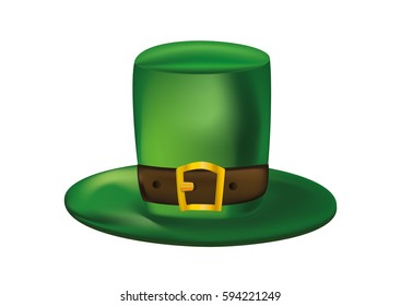Green leprechaun hat with a leather strap. St.Patrick 's Day. Vector illustration