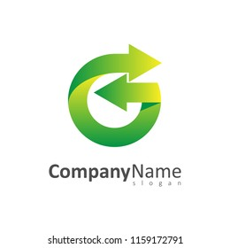green letter g with arrow, logo template ready for use