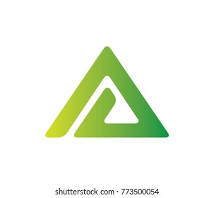 green letter a vector logo design
