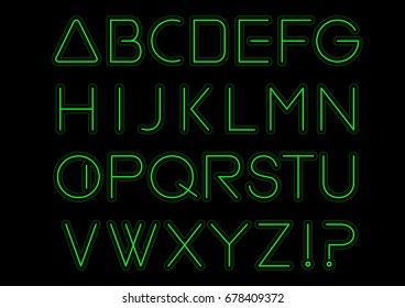 Green light alphabet font. Neon Letters. Bright typeset sign. Typography text for decoration and advertising. Vector illustration
