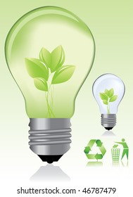 Green light bulb and ecology icons / eco concept