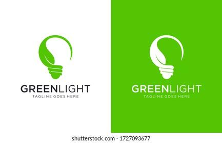 Green light bulb for logo designs vector editable