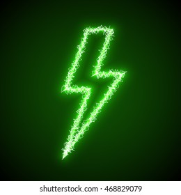 Green lighting bolt sign of electric discharge