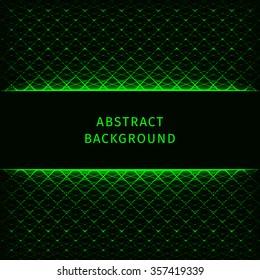 Green lights abstract geometric shape on dark background