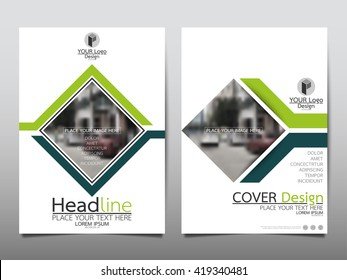Green line annual report brochure flyer design template vector, Leaflet cover presentation abstract geometric background, layout in A4 size