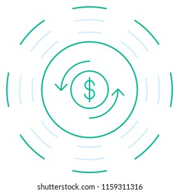 Green line art dollar icon. Vector thin line dollar emblem for the button payment service of the website or finance mobile app design.