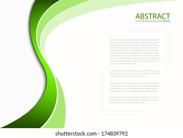 Green line background on white paper background for Text and message design