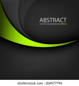 Green line curve on black background vector for text and message design
