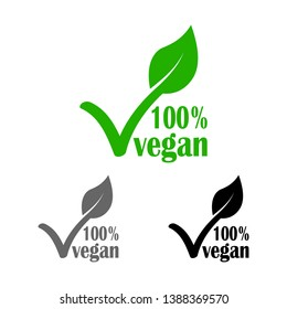 green line icon, vegan tick with leaf