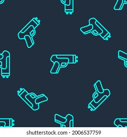 Green line Police electric shocker icon isolated seamless pattern on blue background. Shocker for protection. Taser is an electric weapon.  Vector