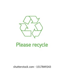 Green Linear recycle icon with text Please recycle. Stock Vector illustration isolated on white background.
