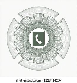 Green linear rosette with phonebook icon inside
