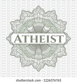 Green linear rosette with text Atheist inside
