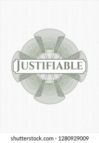 Green linear rosette with text Justifiable inside