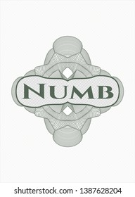 Green linear rosette with text Numb inside