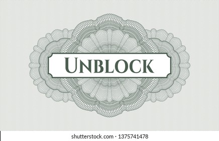 Green linear rosette with text Unblock inside