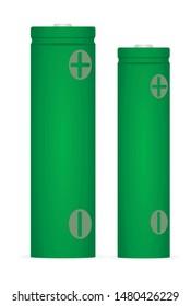 Green lithium ion batteries set. vector illustration
