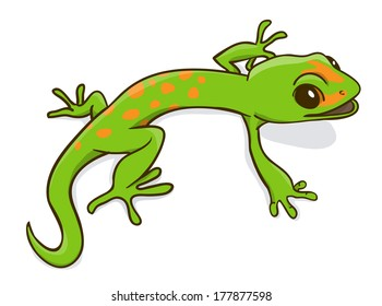 Green little cartoon gecko. Vctor Illustration