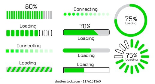 green loading and connecting sign icon set