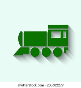 green Locomotive icon . Vector illustration