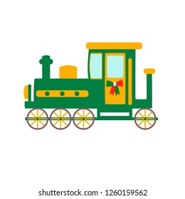 green locomotive on a white background, vector illustration