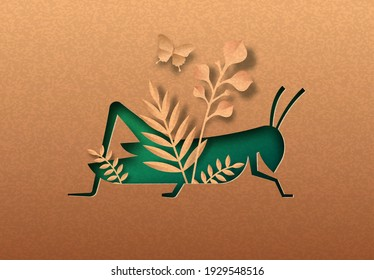 Green locust bug isolated papercut silhouette with tropical plant leaf inside. Recycled paper texture insect cutout. Wildlife conservation or natural pest control concept.