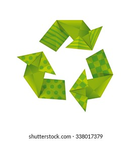 Green logo about ecology made of paper