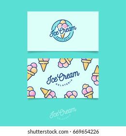 Green logo Ice cream. Italian ice cream emblem. Logo and pattern. Identity. Business card.