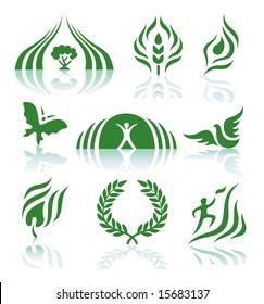 Green logos set