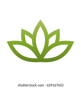 Green lotus symbol. Spa and wellness theme design element. Vector illustration.