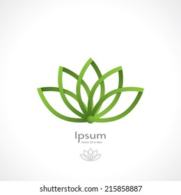 green lotus symbol in the style of origami. template logo design. vector eps10