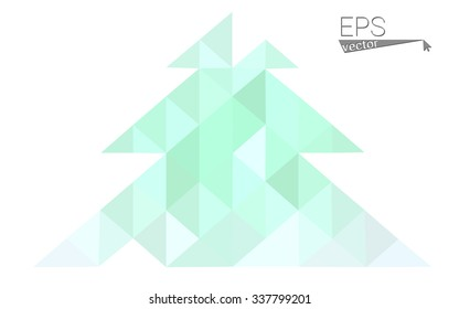 Green low polygon style christmas tree vector illustration consisting of triangles . Abstract triangular polygonal origami or crystal design of New Years celebration. Isolated on white background.