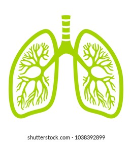 Green lungs vector icon illustration isolated on white background