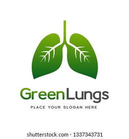 Green Lungs vector logo template. This logo with leaf.
