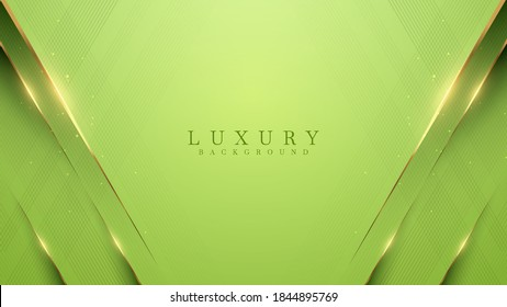 Green luxury background with golden lines, modern 3D style backdrop. illustration from vector about modern template deluxe design.