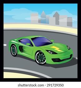 Green Luxury Vector Cartoon Sports Car Stock Vector Royalty Free