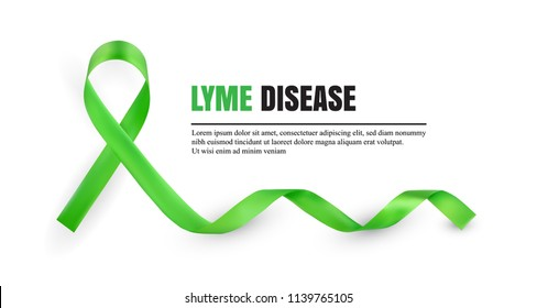 Green Lyme Disease Awareness Symbolic Satin Ribbon Isolated on White Background with Place for Text. Realistic 3d Vector Illustration