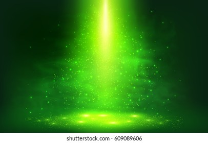 Green magic smoky light with particles abstract vector background