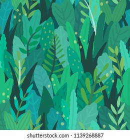 Green magical forest. Vector hand drawn textured seamless pattern