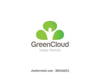 Green Man Cloud Eco Logo design vector template Negative space. Ecology Happy life Logotype concept icon.