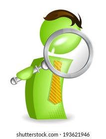 Green Man with magnifying glass. - Illustration