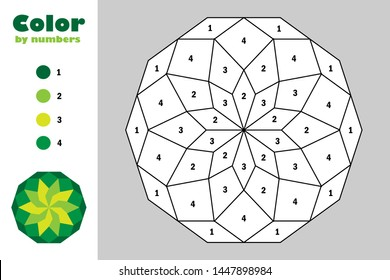 Green mandala in cartoon style, color by number, education paper game for the development of children, coloring page, kids preschool activity, printable worksheet, vector illustration