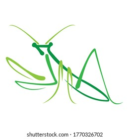 Green mantis drawn in a flat style. Design can be used for insect logo, mascot, icons, badges, albums, tattoos, banners, souvenirs, print on t-shirts, animal symbol. Isolated vector illustration